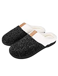 Puricon Women's Slippers, Soft Cozy Comfortable Wool Fabric Memory Foam Non-Slip Autumn Winter Indoor Slippers Breathable House Shoes for Women -Black