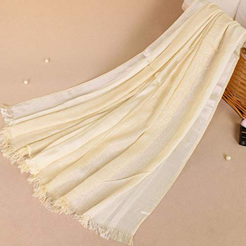 Utini 10pcs Shimmer Women Cotton Shawl Scarves Gold Lurex Plain Hijabs Headscarf Headband Spring Muslim Long Scarves/Scarf 17070cm - (Color: Beige) ()