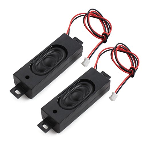 Aexit 2Pcs 2W 8 Ohm Tablet PC Notebook 2-Terminal JST-XH Black Ractangle Magnetic Audio Speaker Loudspeaker 63mm x 22mm by Aexit
