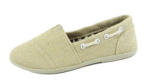 Soda Women Object Flats-Shoes Beige Sackleinen