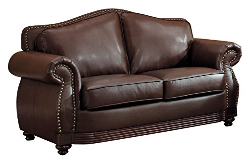 (Homelegance 9616BRW-2 Loveseat Bonded Leather, Dark)