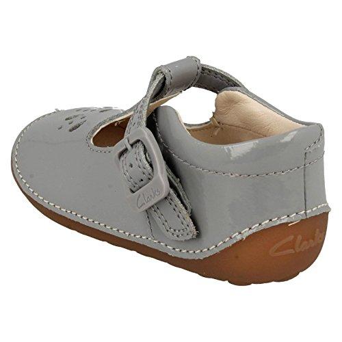 Clarks Little Weave, Mocasines Gatean para Bebés Grey Patent