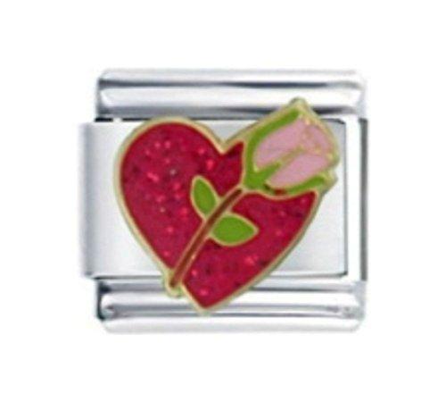 Red Rose Italian Charm Bracelet - ROSE PINK RED LOVE HEART Enamel Italian Charm 9mm - 1 x LV069 Single Bracelet Link