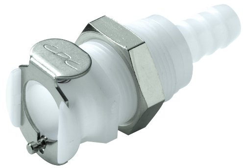 "Colder PLC16005 Acetal Tube Fitting, Coupler, Straight Thru, Panel Mount, 1/4"" Flow Coupler x 5/16"" Barb"