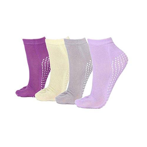 STEVE YIWU 4 Pairs Womens Anti-Slip Grip Workout Yoga Mix Color Feety Socks (set2) Tile Dot Mix