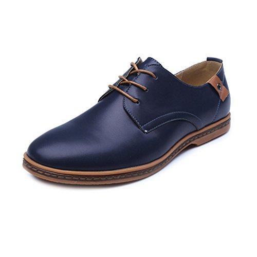 Hongjun-shoes, Scarpe da uomo 2018, Smooth, scarpe da caviglia in pelle PU superiore con lacci traspirante formale Business Oxfords, Brown, 7 Blue