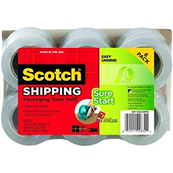 Scotch Sure Start Packaging Tape, 1.88 Inches x 900 Inches, 1 1/2 inch core, Pack of 6