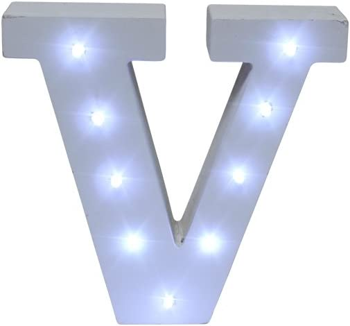 Royal Brands Decorative DIY LED Letter Light Sign - Light Up Wooden Alphabet Letter Battery Operated Party Wedding Marquee Décor - White (V)