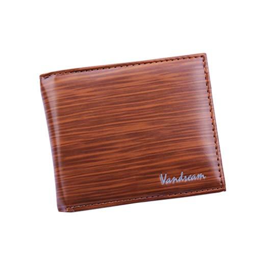 Clearance Sale Litetao Business Bifold Wallet Wood Grain PU Leather Purse Cash ID Credit Card Holder VANDREAM Money Clip Gift