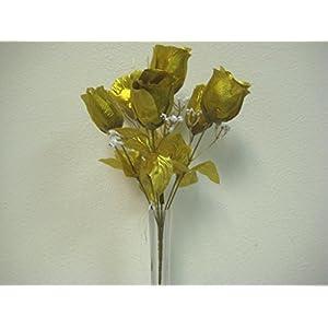"3 Bushes Gold Rose Bud Artificial Silk Flowers 13"" Bouquet 6-599 GD 69"