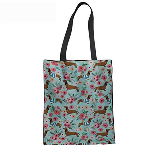SANNOVO Women's Handbag Cute Tote Shoulder Bags Dachshund Dog Floral Print Shopper Bag