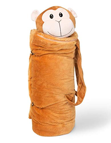 BuddyBagz Monkey, Super Fun & Unique Sleeping Bag/Overnight & Travel Kit for Kids, All in 1 Traveling-Made-Easy Solution Complete with Stuffed Animal, Pillow, Sleeping Bag & Overnight Bag
