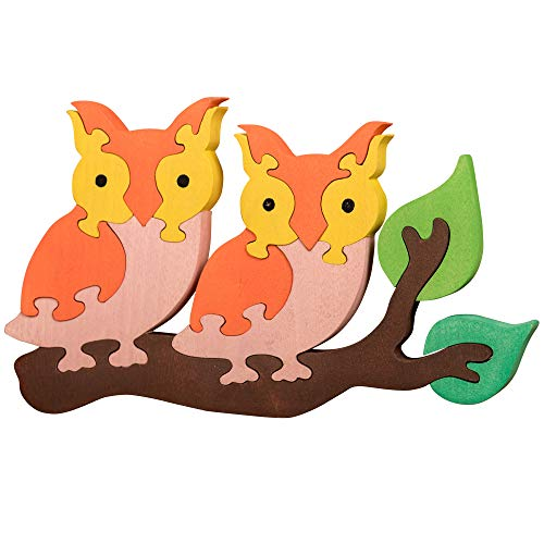 OXEMIZE Wooden Puzzles for Toddlers Owls on The Tree Kids Wooden Blocks and Trailer Toys Preschool Educational Toys Color sorter Puzzle Set for Children, Boys and Girls Ages 3 4 5 to 8 Years Old