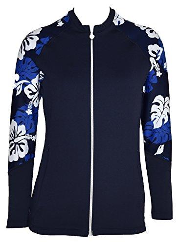 Private Island Hawaii Women UV Wetsuits Long Raglan Sleeve Rash Guard Top Zipper Jacket (Large, Navy with Blue (Long Suit Jackets Women)