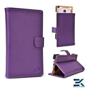 [Matrix] PU Leather Universal Book Folio Phone Cover fits Samsung ATIV S Case - PURPLE. Bonus Ekatomi Screen Cleaner