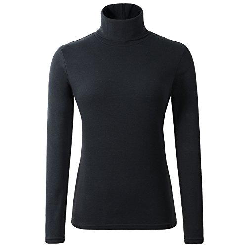 HieasyFit Women's Cotton Basic Thermal Turtleneck Pullover Top Black M ()