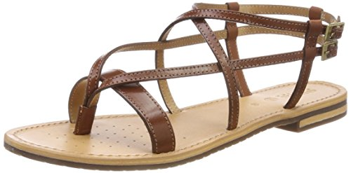Flat Sandal, Brown Cotton, 38 M EU (8 US) (Geox Leather Flats)