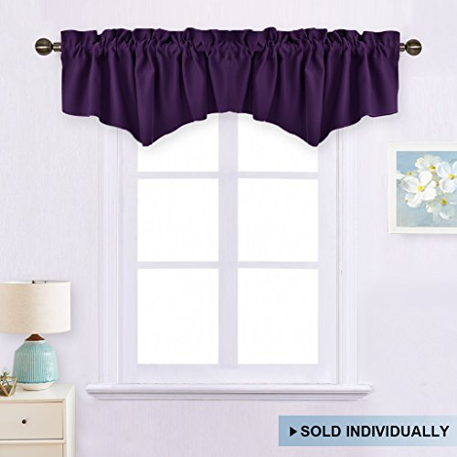 Blackout Valance Short Curtain Tier - W52-inch by 18-inch Ascot Rod Pocket Valance Window Curtain by NICETOWN (Royal Purple, Single Panel)
