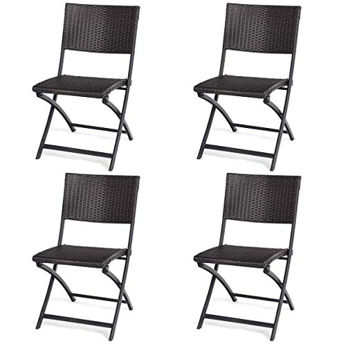 Tangkula 4 PCS Rattan Folding Chairs Outdoor Patio Wicker Chairs with Non-Slip Chair Foot Design for Living Room, Garden Lawn and Balcony Rattan Aluminum Frame Chairs Without Armrests
