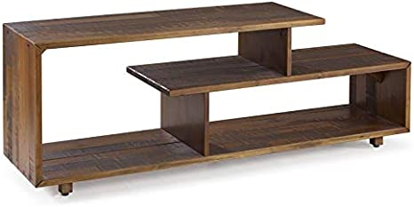 Pemberly Row 60 Modern Rustic TV Stand Console in Amber