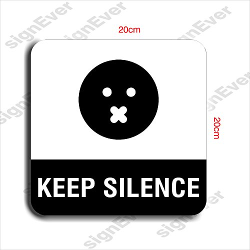 Signever Keep Silence Squre Sign Board With Double Side Adhesive