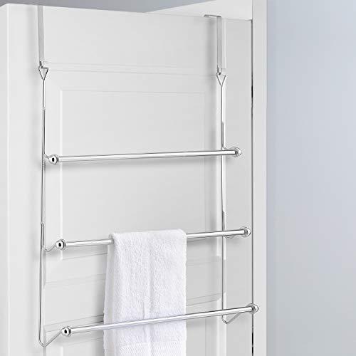 MyGift Over-The-Door 3 Tier Bathroom Towel Bar Rack with Chrome-Plated Finish
