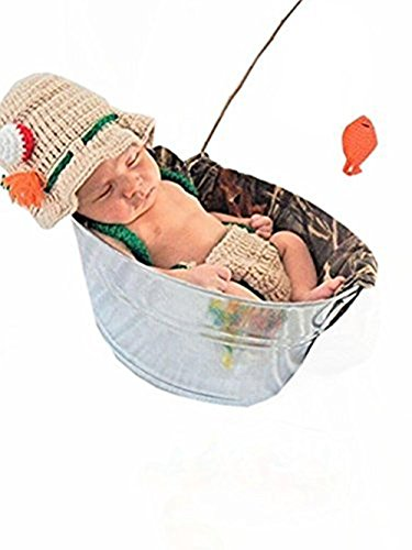 [Eyourhappy Baby Newborn Handmade Crochet Photography Props Fishing Fisherman Costume Outfit Fish Hat Diaper] (Fisherman Costume)