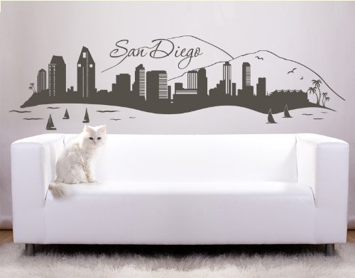 San Diego City Skyline Wall Decal by Style & Apply - cityscape highest quality wall decal, sticker, mural vinyl art home decor - 4199 - Black, 31in x 9in