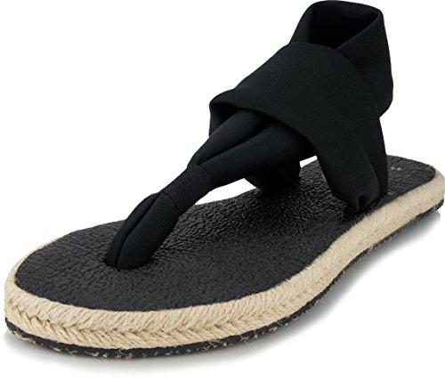 Nalho Women's Comfort Sandals Flip Flops and Espadrilles, Comfortable Flats Shoes and Slingback Slides with Yoga Mat Memory Foam, Black, - Sandal Womens Comfort