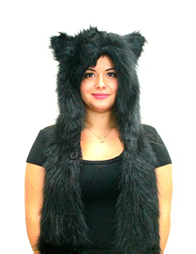 Animal Faux Fur Hood with Zipper Pocket Anime Hat with Warm Scarf Mittens Hats Ears and Paws Spirit Hoodie Hoods (Black (Cat Ears Spirit Halloween)
