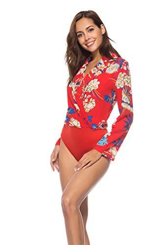 Tuta Red Body manica Xinwcang Body Tuta stampata da Body Top a lunga donna scollo con V 6q6rxt7a