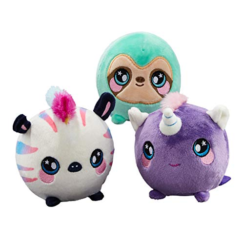 Squeezamals (Kate Unicorn, Samantha Sloth, Zachry Zebra - 3.5 Super-Squishy Foamed Stuffed Animal! Squeezable, Cute, Soft, Adorable! Toy (3 Pack)