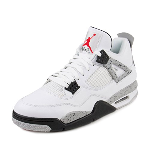 NIKE Mens Air Jordan 4 Retro Cement White/Fire Red-Black Leather Size 10 (Jordan Iv White Cement)