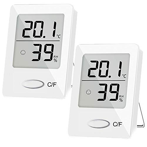 SXCD 2 Pack Digital Hygrometer Indoor Thermometer, Humidity Gauge Indicator Room Thermometer, Accurate Temperature Humidity Monitor Meter for Home, Office, Greenhouse, Mini Hygrometer(White)