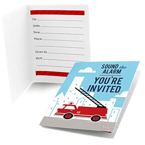 Big Dot of Happiness Fired Up Fire Truck - Fill in Firefighter Firetruck Baby Shower or Birthday Party Invitations (8 Count)