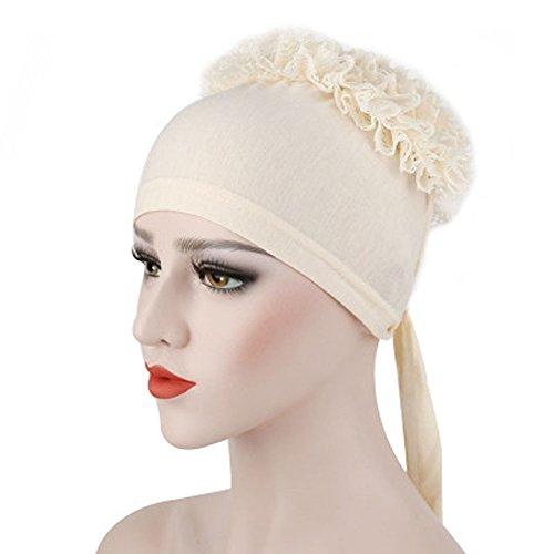 Litetao Muslim Flowers Hat Chemo Cap Hair Loss Multipurpose Head Scarf Wrap Hijab Cap (Beige) (Cotton Lightweight Headwrap)