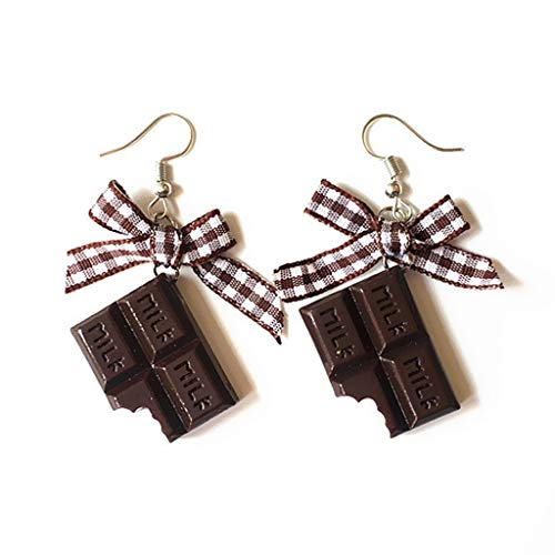 (Kofun Lady Earrings, 1 Pair Creative Cute Mini Chocolate Donuts Bow Earrings Minimalism Cartoon Design Female Ear Hooks Danglers Jewelry Gift B)