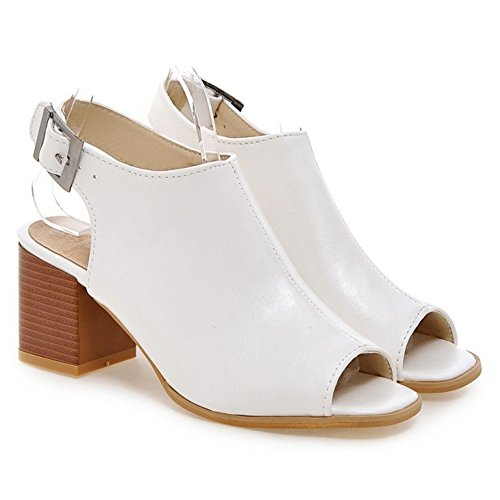 Women's Block Heel TAOFFEN White Shoes Sandals 51 dRnq51Zxq
