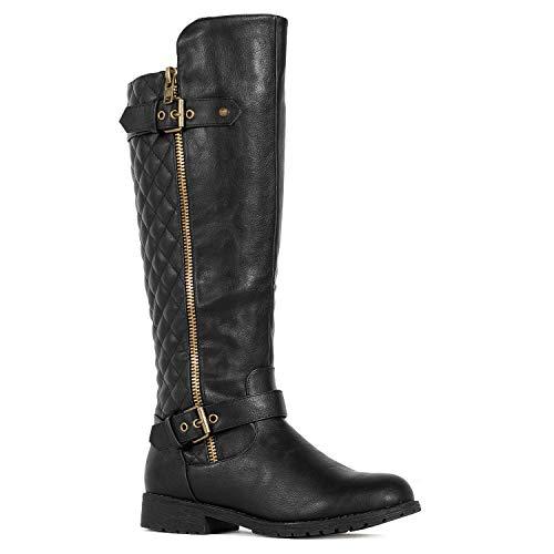 RF Medium Calf Knee High Hidden Pocket Riding Boots Black PU Size.7.5
