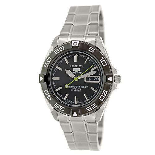 (Seiko 5 Sports Automatic Black Dial Stainless Steel Mens Watch)