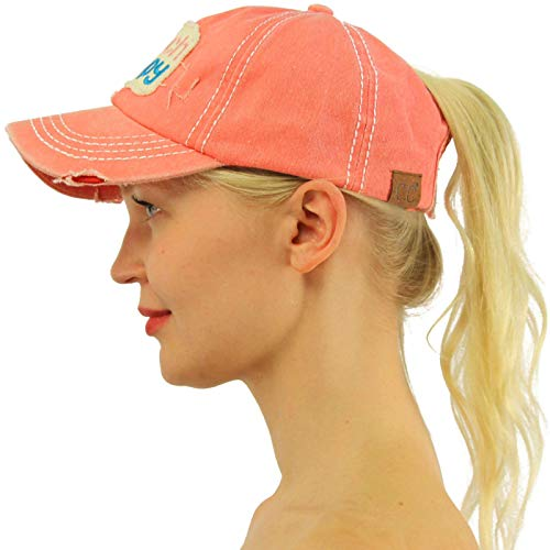 C.C Ponytail Messy Buns Trucker Ponycaps Plain Baseball Visor Cap Dad Hat Distressed Beach Happy Coral