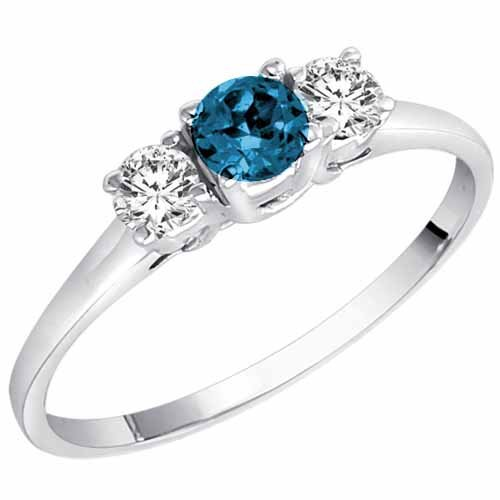 14K White Gold Round 3 Stone Blue Diamond & White Diamond Ring (1/2 cttw) – Size 7