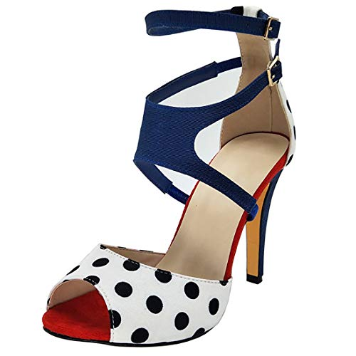 Artfaerie Womens Polka Dot Peep Toe Heels Pumps Ankle Strap Stiletto High Heel Satin Sandal (US 8.5, White)