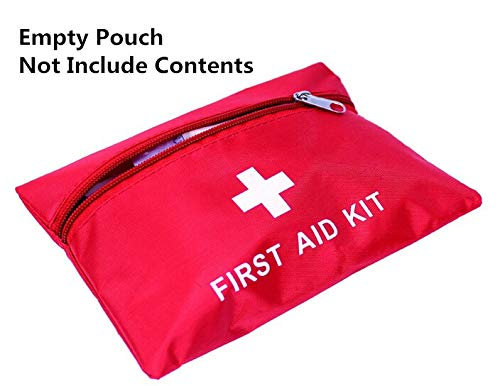 (Jipemtra First Aid Bag Small Outdoor Travel Rescue Bag Empty Pouch First Responder Storage Compact Survival Medicine Bag Pocket Container for Car Home Office Sport Gym (Red 420D.))