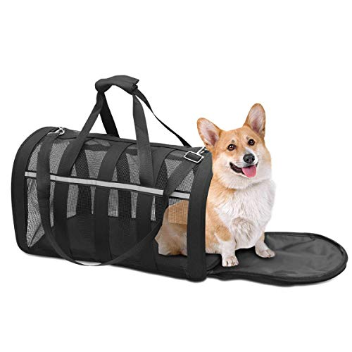 CLEEBOURG Pet Carrier Bag Airline Approved Dog Cat Travel Carrier Bags Lightweight Collapsible Under-seat Animal Carrier Bag for Pets Mesh Webbing Black (M)
