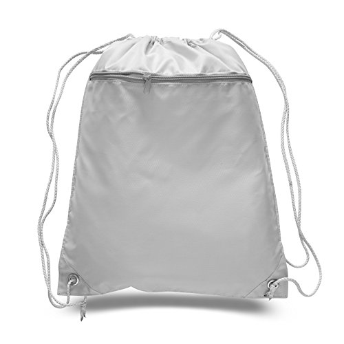 (12 Pack) Set of 12 Economical Drawstring Polyester Backpack with Front Pocket - Center Plains White Shopping
