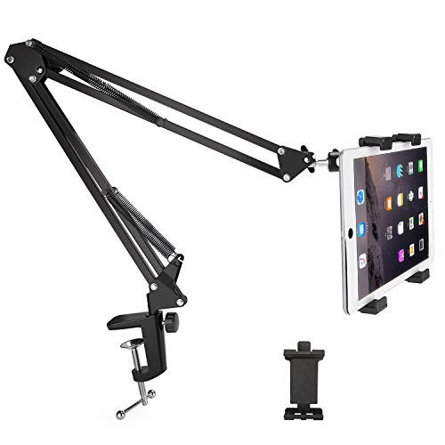 Phone Tablet Mount Holder, MAYOGA 360 Degree Rotation Tablet Arm Stand, Universal Tablet Arm Holder Bracket Adjustable for All 4-10.5 Inches Smartphones, Tablets, iPhone, iPad Mini, iPad Air, and Gala (Tablet Arm Desk)