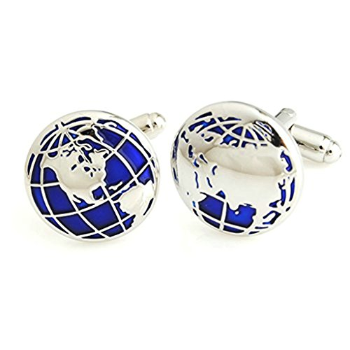 Beydodo Men's Stainless Steel Cufflinks,Earth Cufflink Weddding Business,Silver Blue 15MM 1 Pair/Set ()
