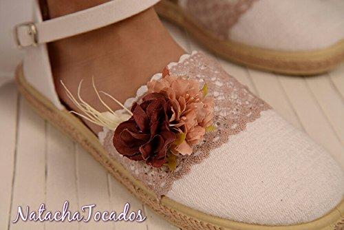 código promocional c0483 dca7d Alpargata comunión blanco y rosa: Amazon.es: Handmade