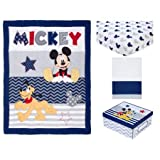 Infant Child Toddler Disney Let's Go Mickey II 4 Piece Crib Bedding Set, Comforter, Fitted Sheet, Crib Skirt and a Keepsake Box with a lid